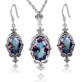 Dubai Jewelry Sets Vintage Style 925 Sterling Silver Jewelry Wedding Decoration Rainbow Big Crystal Earrings Necklace Jewelry