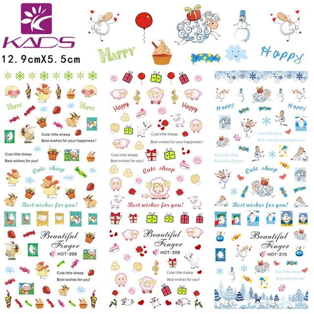 3sheet/set HOT208 210 mini cute gift design Water decal Nail Sticker ...