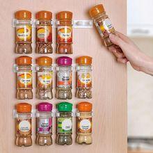 20F# 8PCS Spice Rack Spice Wall Storage Plastic Kitchen Organizer Rack 12 Cabinet Door Hooks Kitchen Accessories