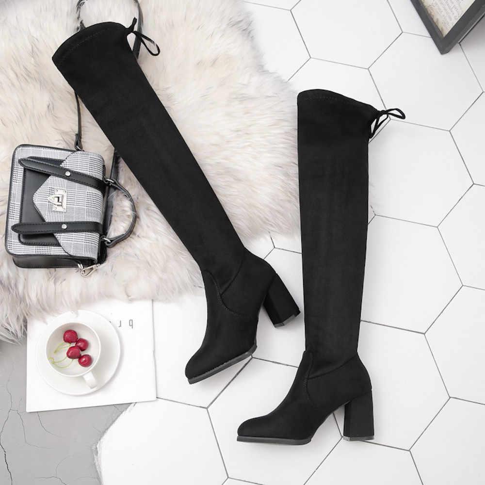 2019 สตรีสูงรองเท้า Boot เข่ารองเท้าบูทสูงรองเท้าสตรีผู้หญิงสีดำรองเท้าแฟชั่นยาวยาว Overknee Botas mujer