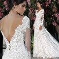 Românticos Vestidos De Novias vestido de Noiva Branco V Neck Manga Comprida Abrir Voltar Lace Vestidos de Casamento