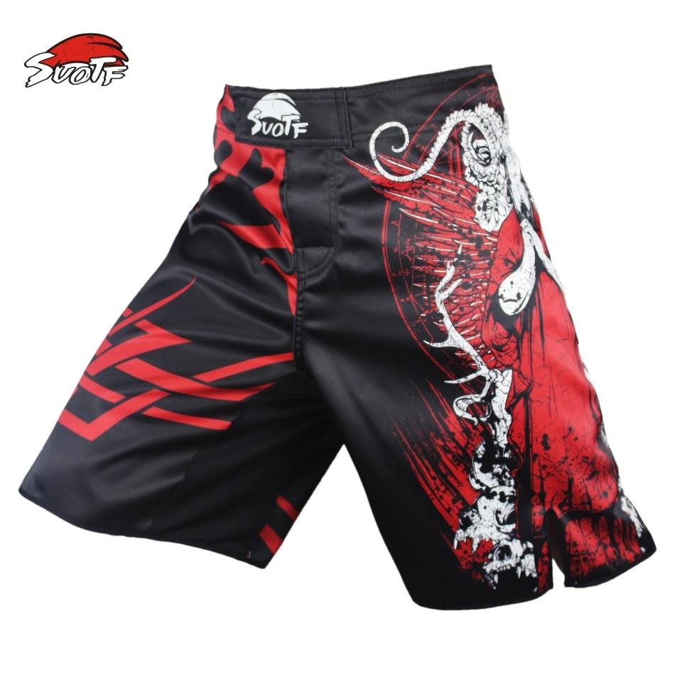 Prix pour SUOTF Rouge Mort Terreur combat de boxe de fitness pantalon court mma pretorian Tiger Muay Thai shorts de boxe kickboxing respirant MMA