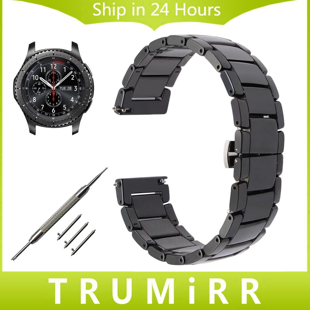 22mm Quick Release Ceramic Watch Band for Samsung Gear S3 Classic Frontier Steel Butterfly Buckle Strap Wrist Belt Link Bracelet 18mm 20mm 22mm quick release watch band butterfly buckle strap for tissot t035 prc 200 t055 t097 genuine leather wrist bracelet