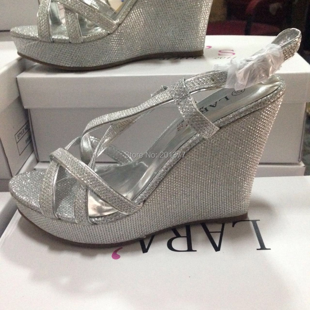 919bd8b7fcb LARA's sparkly bling wedges sandals high platform heels sandle ...