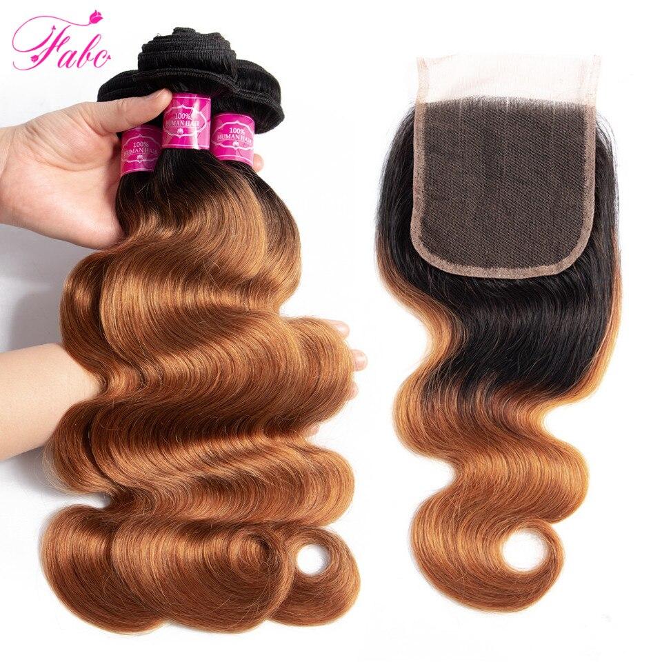 FABC Hair color 1b 30 human hair bundles 2 tone honey blonde body wave 3 bundles