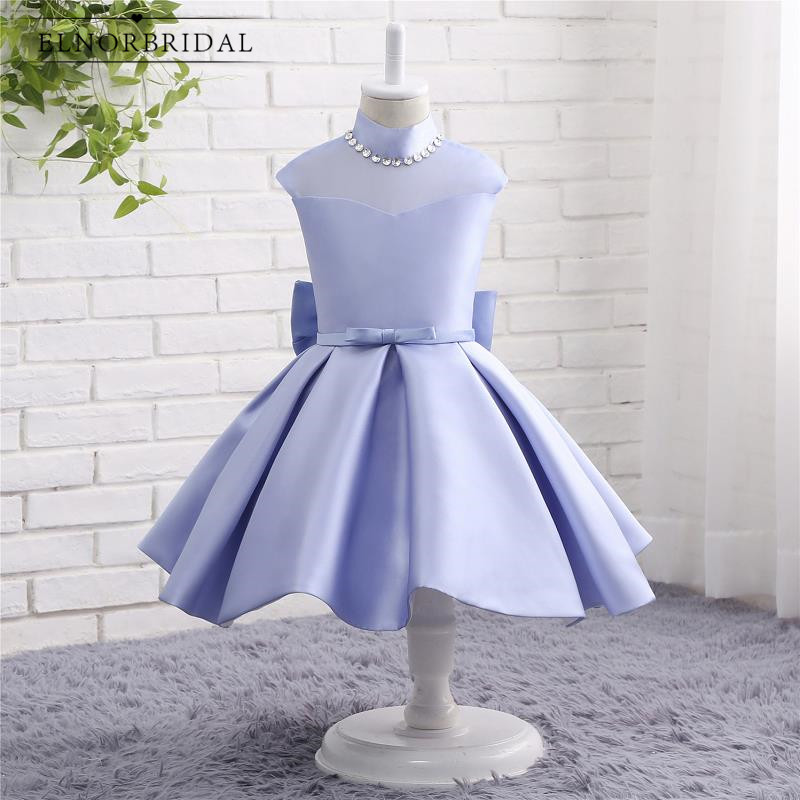 Vestido De Daminha Lavender   Flower     Girl     Dresses   Cheap 2019 High Neck Cap Sleeve First Communion   Dress   For Kids Evening Gowns