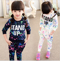 2016 Fashion girls tracksuit baby kids sport clothes set coloful letter printed children suit clothing t shirt + Pants 2pcs/set