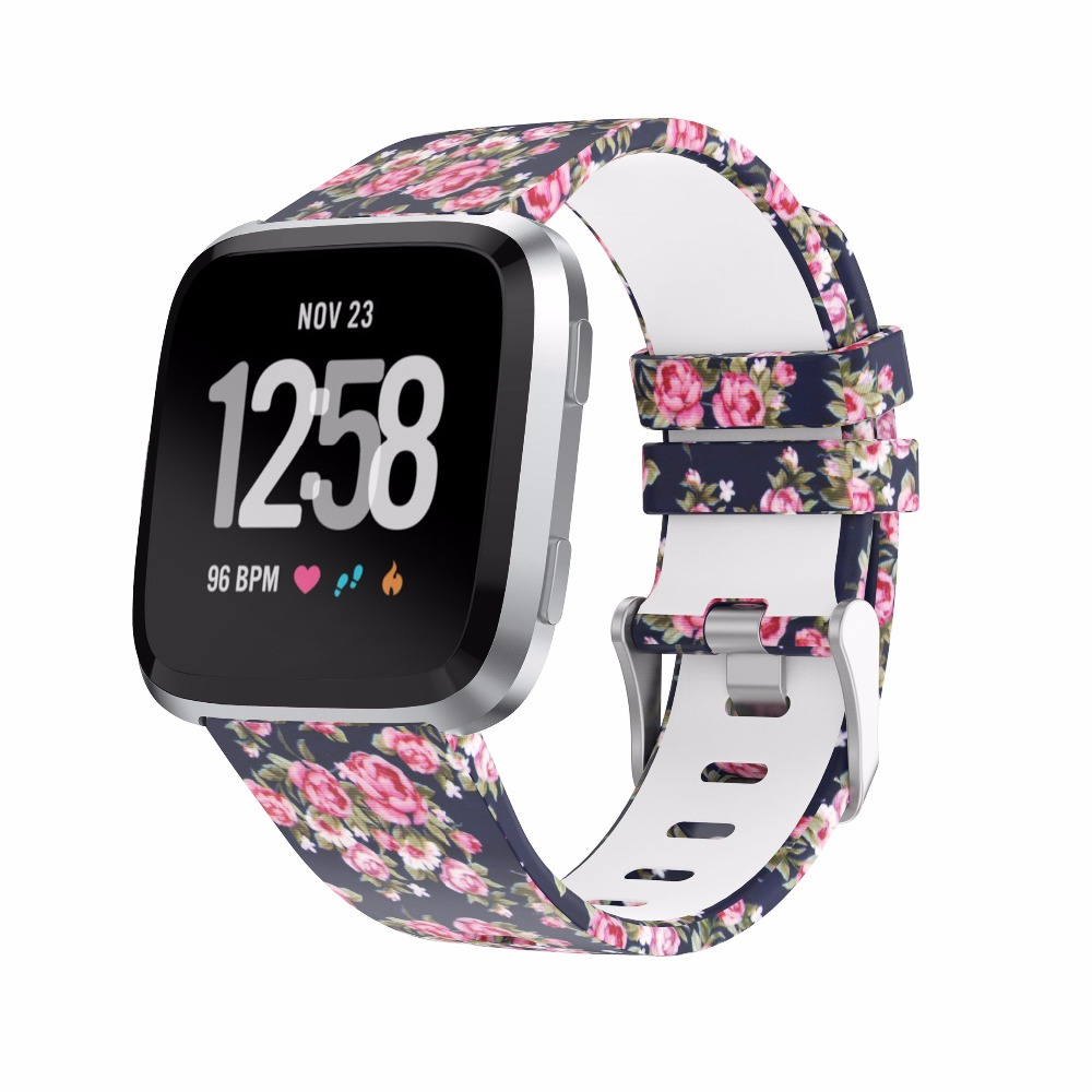 Bemorcabo for Fitbit Versa Bands,Cute Floral Replacement Strap Wristband for Fitbit Versa Smart Watch Women Men Small Large smart watch usb charging box cable for fitbit versa