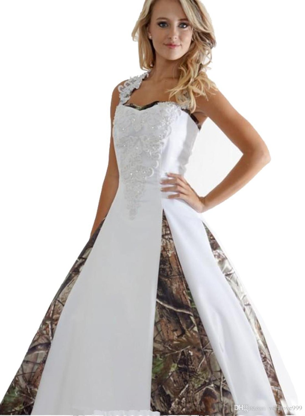 2019 New Camo Wedding Dresses With Appliques Ball Gown Long