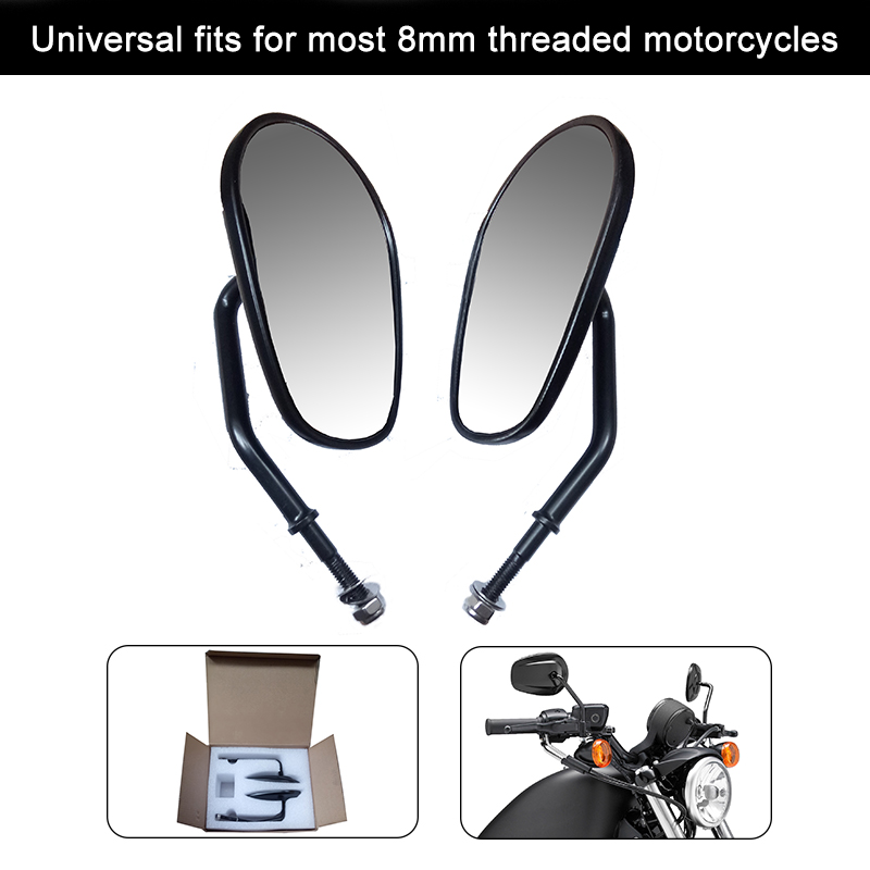 8mm Motorcycle Rearview Rear View Side Mirrors For Harley Sportster 1200 Iron 883 Street Bob Softail Street Glide Road Glide rst 001 bk black aluminum rear seat mounting tab cover for harley sportster dyna softail street glide street bob touring