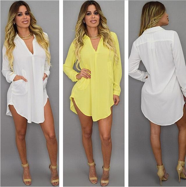 Blusas 2017 loose Big Size Women Turn Down Collar Shirt Sexy Deep V  Long Sleeve Blouse Casual Long Tops Shirt Sexy Female