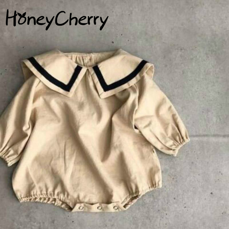 Boys And Girls Cotton Romper Navy Collar Long Sleeve Butt-wrapped Crawling Clothes Twins Baby Clothes