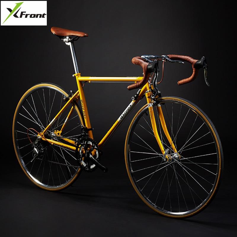 New Retro Road Bicycle Carbon Steel Frame 700CC Wheel SHIMAN0 14 Speed Dual V Brake Bike Outdoor Racing Cycling Bicicleta