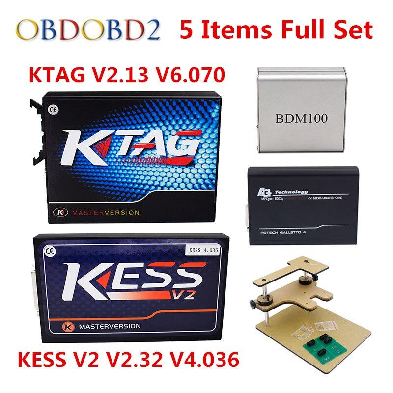 KESS V2 V2.33 V4.036+KTAG V2.13 V6.070+FGTECH Galletto 4 Master v54 BDM Frame BDM100 No Tokens Limited ECM SW as Gift