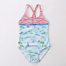 2019 New Swimsuit Girls One Piece Swimwear Striped Bodysuit Floral Children Beachwear Sports Swim Suit Bathing
