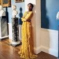 De ALTA CALIDAD de La Nueva Manera 2016 Runway Maxi Vestido de Las Mujeres de Manga Larga Arco Rebordear Ruffles Plisado Vestido Largo de Color Amarillo
