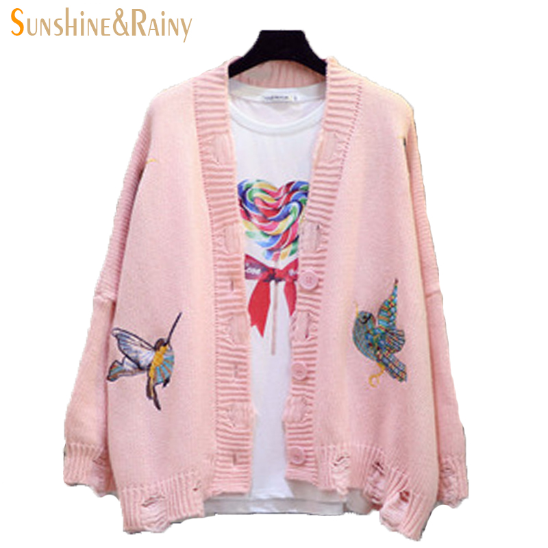 Winter autumn casual tops V-NECK collar bird embroidery knit sweater solid lines warm women sweaters hole coats cardigans