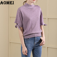 Knitting Pullover Tops Lurex Autumn Summer Base Girls Casual Fashion Loose Solid Purple Clothing Fall 2020 New Great Stretches