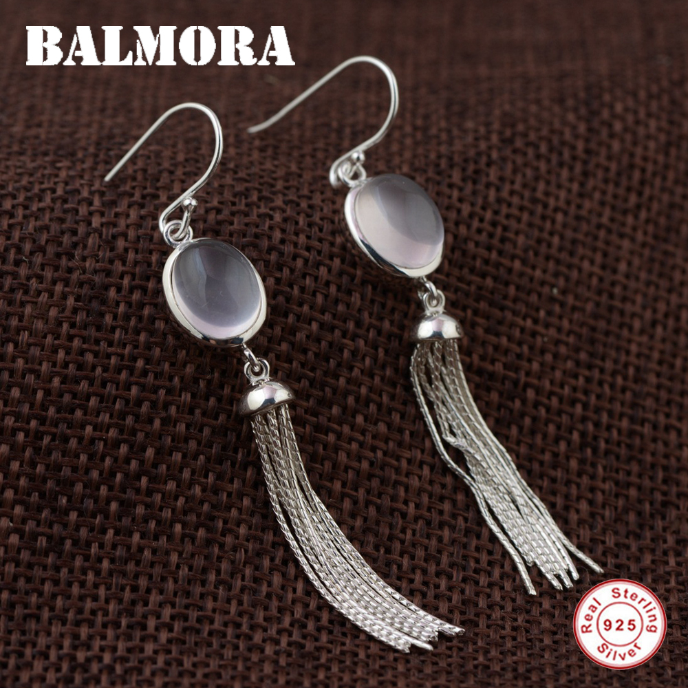 BALMORA 2 Styles Tassel Earrings 925 Sterling Silver Drop Earrings for Women Female Gifts Elegant Jewelry Aretes TRS30844 pair of elegant rhinestone hollowed leaf tassel drop earrings for women