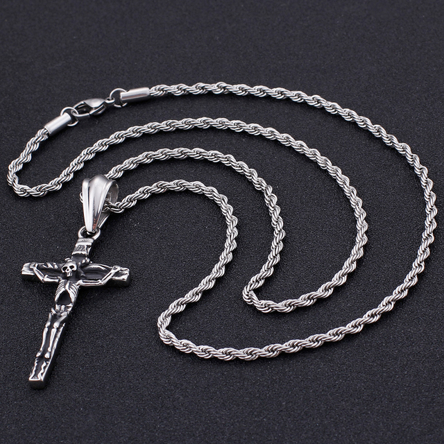 STAINLESS STELL SKULL CROSS NECKLACE