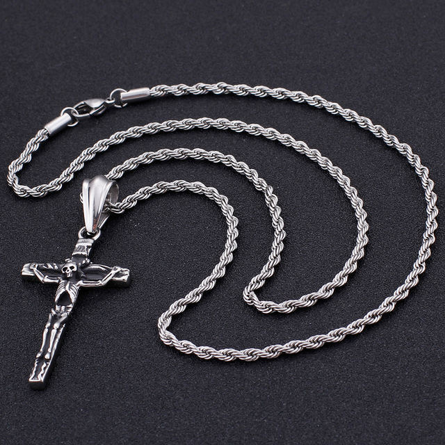 STAINLESS STELL CRULL CROSS NECKLACE