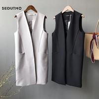 SEDUTMO Long Vest Women Blazer Streetwear Jacket Autumn Coat Harajuku Vintage Black Waistcoat Basic Outerwear ED311