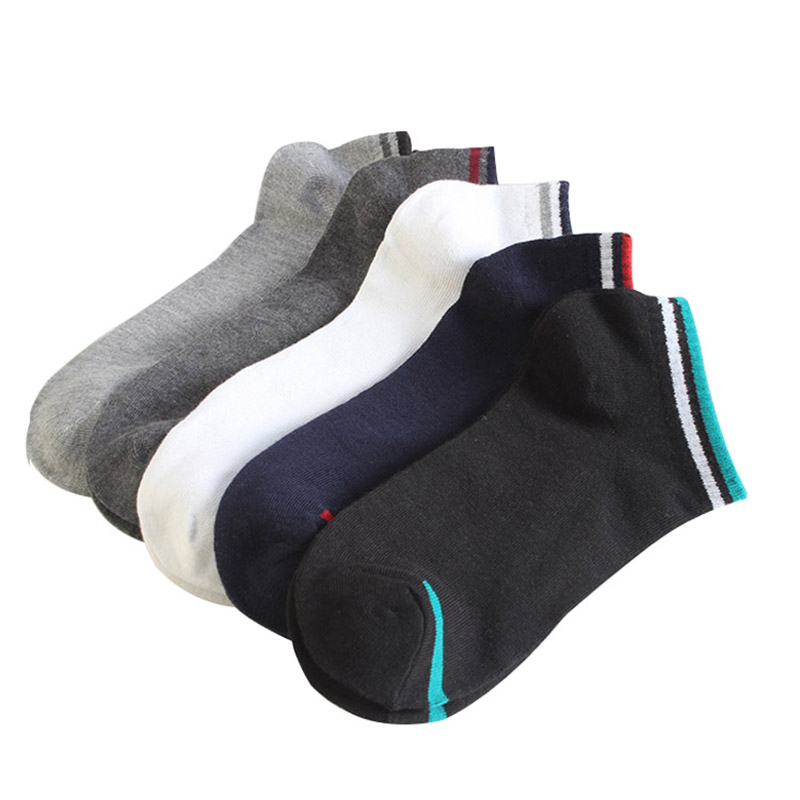 Spring/Summer Breathable Solid Short Men Socks Male Casual Low Cut Ankle Socks Man Colorful Cotton No Show Socks/5Pairs