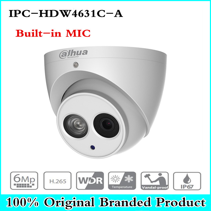 DH IPC-HDW4631C-A 6MP POE Network IR Mini Dome IP Camera Metal Case Built-in MIC CCTV Camera Starnight Vision Security System цена 2017