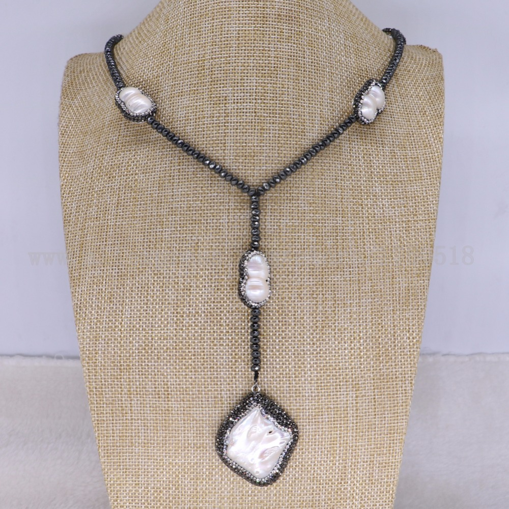 3 strands Natural hematite necklace with natural pearl necklace hematite druzy necklace jewelry for women 3378
