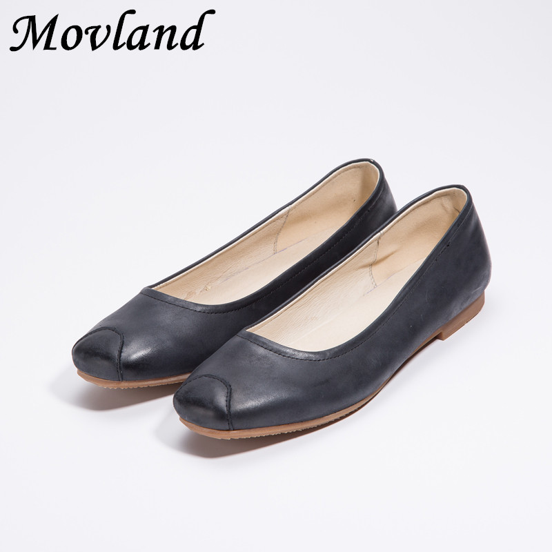 Movland-The new 2019 days of spring&summer are simple waxed cattle skin, pure handmade women's sole Casual shoes,2 colors