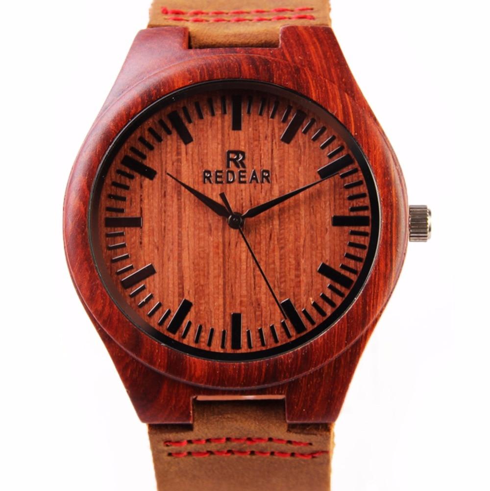ФОТО Wholesale Watch Red Sandalwood Wooden Watch Japan Movement Quartz Watch Leather Wood Wristwatches