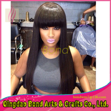 Hot Sale!! 7A Glueless Full Lace Human Hair Wigs Lace Front Wig Brazilian Virgin Hair Straight Wigs with Bangs For Black Women