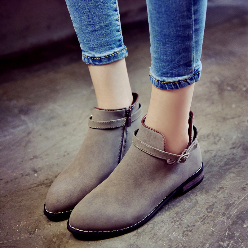 2017 Autumn Winter Martin Boots Women Shoes Woman Pointed Toe Zip Ankle Boots All Match Heels Solid Color Platform Shoes