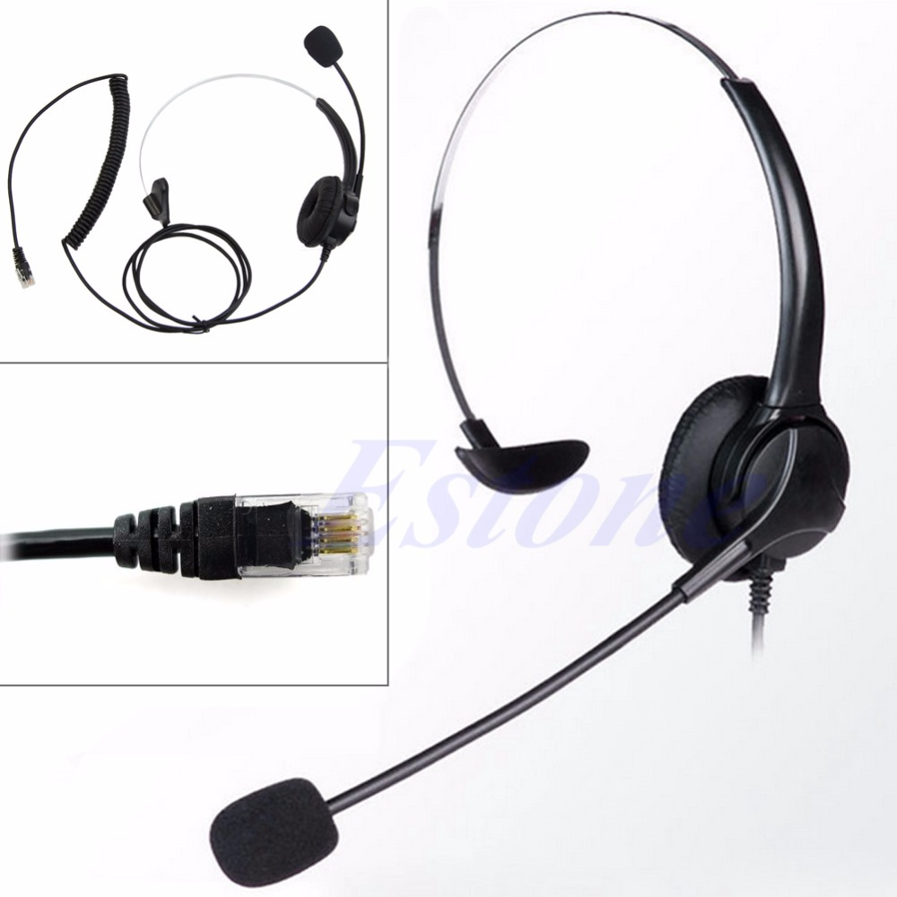 OOTDTY 4-Pin RJ11 Monaural Corded Operator Call Center Telephone Headset Headphone BK