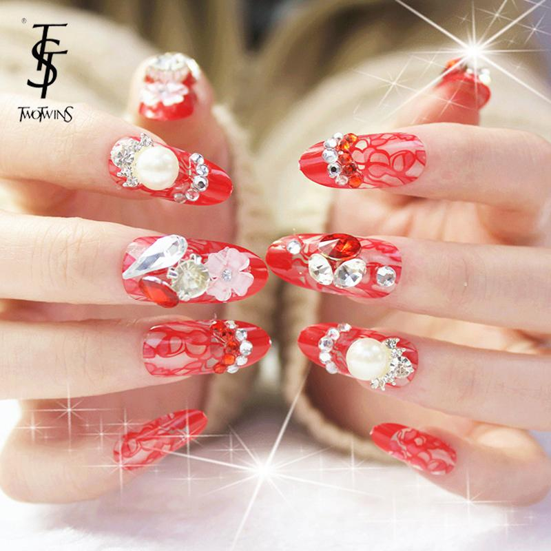 new fashion luxury diamond fake nails extension red lace false nails ...
