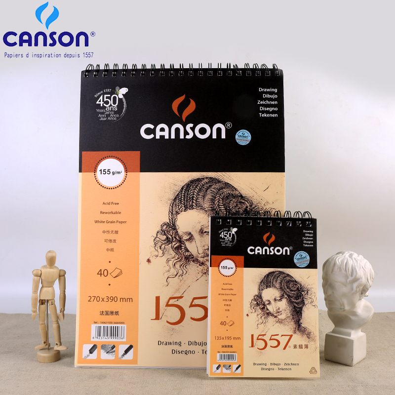 France Canson Artist Sketch Book 8K/16K/32K SketchBook 40Sheets Coil Notebook Drawing Painting Sketch Art Supplies cartoon hand drawn sketch this 16k blank sketchbook coil art note book a4 drawing book