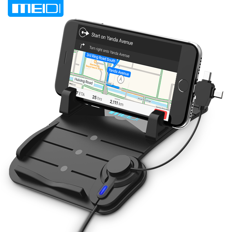 MEIDI Universal Car Mount Phone Holder with DC 5V 2.1A porta celular para auto USB Car Charger fit for Apple Android Type c