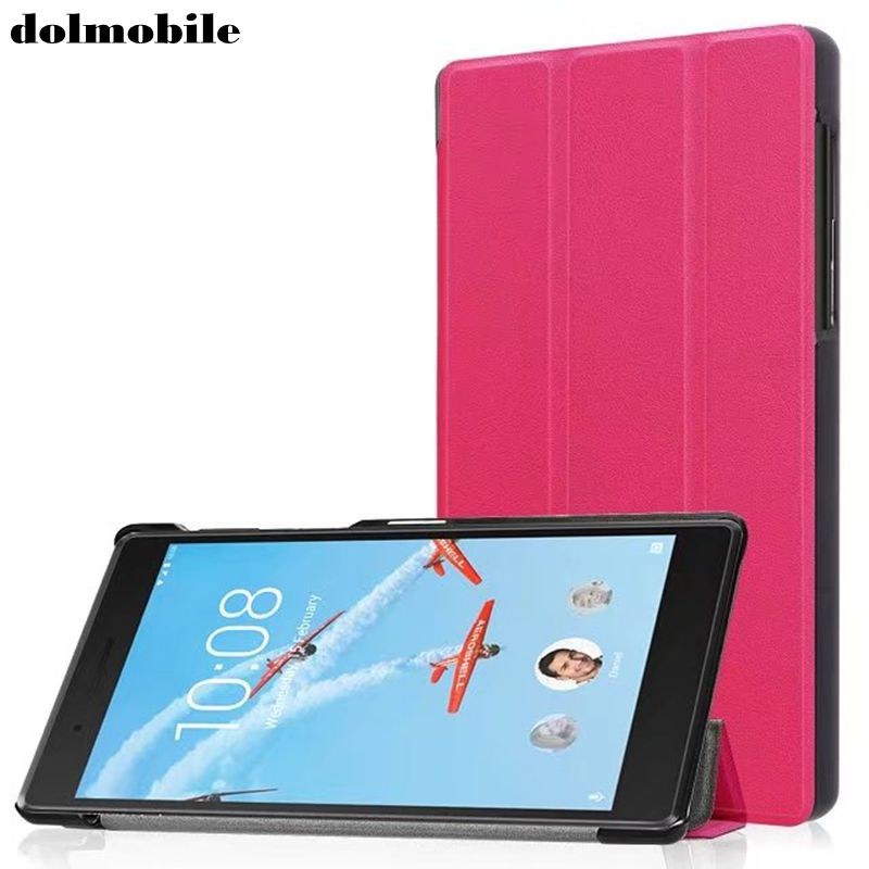 dolmobile Flip Book Cover PU Leather <font><b>Case</b></font> with Stand <font><b>for</b></font> <font><b>Lenovo</b></font> <font><b>Tab</b></font> 4 <font><b>7</b></font> TB-7504F TB-<font><b>7504X</b></font> TB-7504N TB-7504 <font><b>Tablet</b></font> Stylus Pen image
