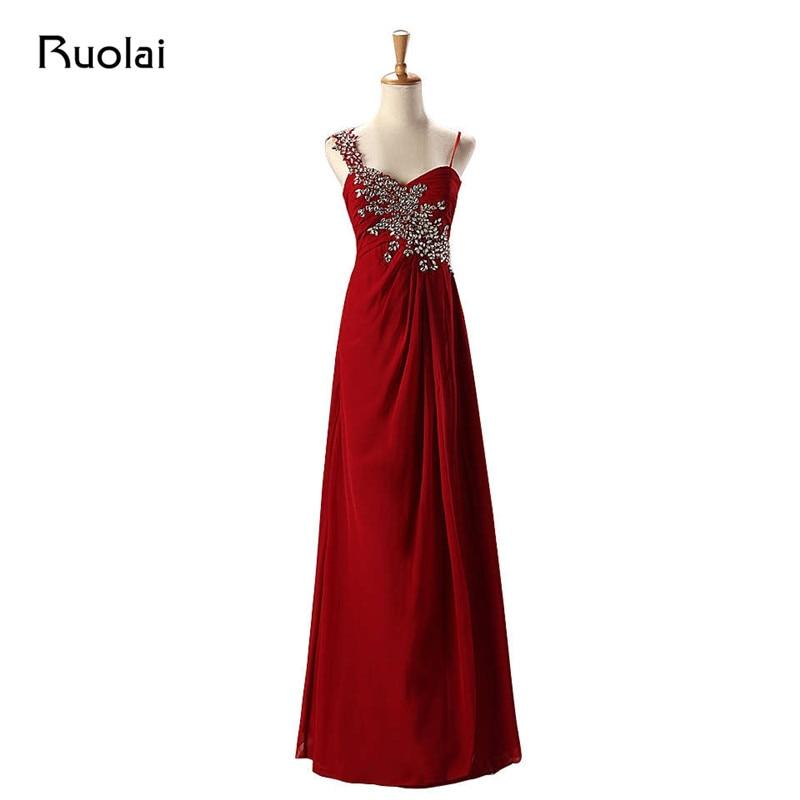 Cheap Burgundy Bridesmaid Dresses Long Chiffon Ruffle Spaghetti Straps Beaded Maid of Honor Dress Wedding Guest Party Dress BM36