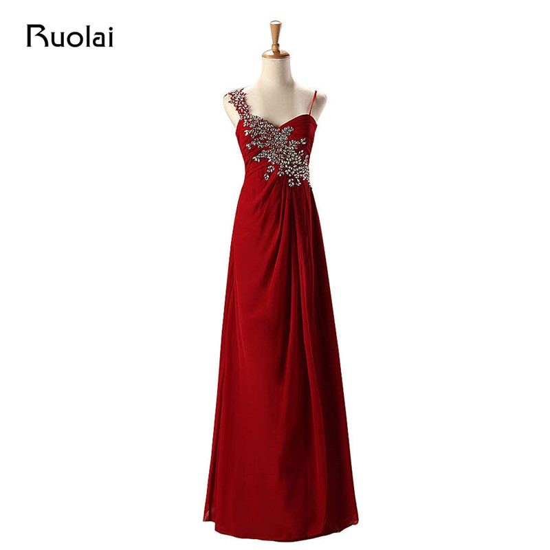 Cheap Burgundy   Bridesmaid     Dresses   Long Chiffon Ruffle Spaghetti Straps Beaded Maid of Honor   Dress   Wedding Guest Party   Dress   BM36