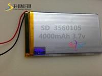 Recargable de Polímero de litio de 3.7 V, 3560105 dispositivo de audio, dispositivo portátil, 4000 mah de la batería