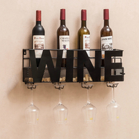 Free shipping Wall Mounted Metal Wine Rack 4 Long Stem Glass holder Wine Cork Storage 58X12X22cm