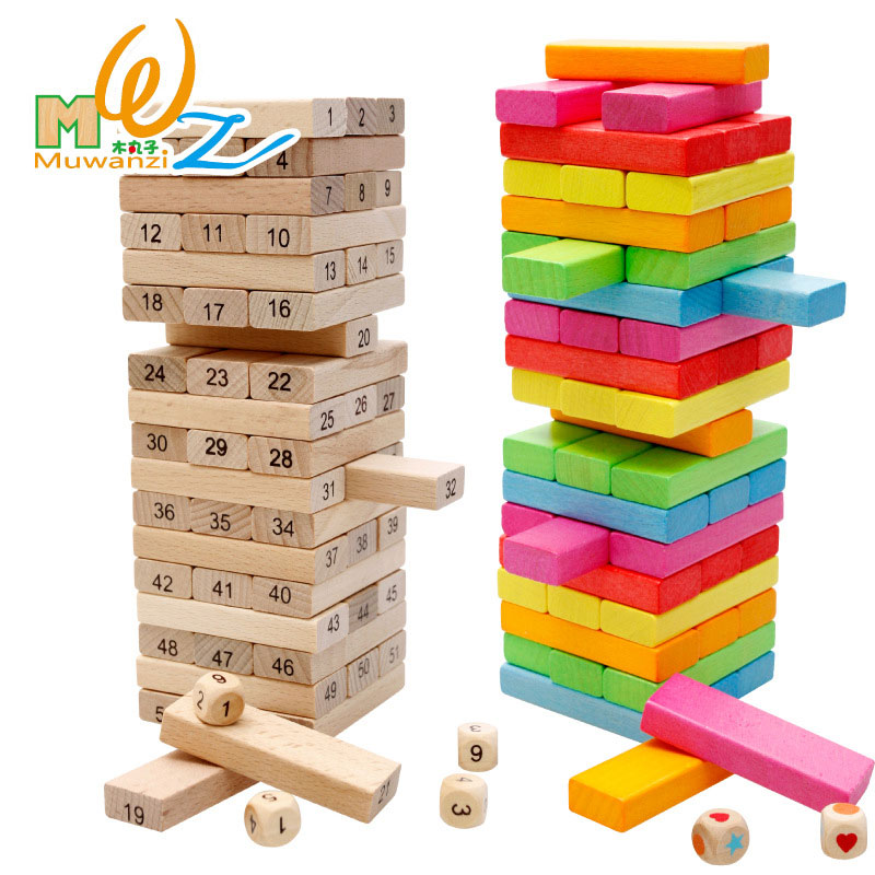 MWZ 54PCS Small Size Educational Kids Toys Parent-child Interactive Table Games Birthday Gifts For Children Wooden Block Toy hot sell desktop manual indoor football machine parent child sports interactive toys table ball game machine