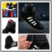 18bc072f21bb98 Hommes femmes chaussures de lutte de boxe professionnelle semelle  extérieure en caoutchouc chaussures de combat respirantes