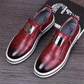 2017 men's fashion leather shoe british round head men zipper casual flats metal male flat loafers red black grey shoes us 8.5