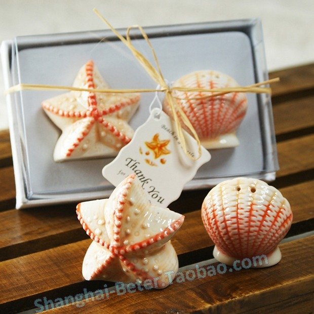 Free Shipping 200pcs=100box(2pcs/box) Seashell and Starfish Salt and Pepper Shakers TC001 as Wedding Favor