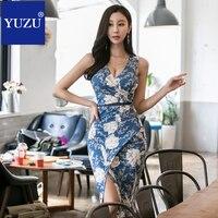 Azul vestido de impresión Floral Sexy mujeres Cruz Alta Split v-cuello sin mangas verano Oficina vestidos elegante rodilla-longitud vestido
