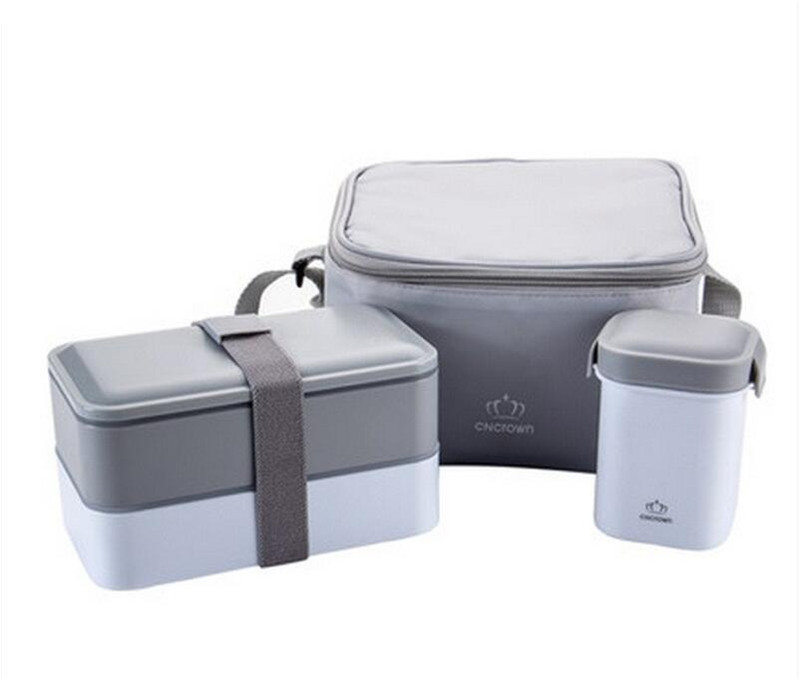 Japan Style Double Layers <font><b>Sets</b></font> Portable Food Container Student Microwave Lunchbox Water Bottle Plastic Dinner <font><b>Sets</b></font>