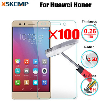 100Pcs Screen Protector Film For Huawei Honor 7 8 3C G740 Y625 Y560 P9 P8 Lite Plus Mate S 8 Premium Transparent Tempered Glass