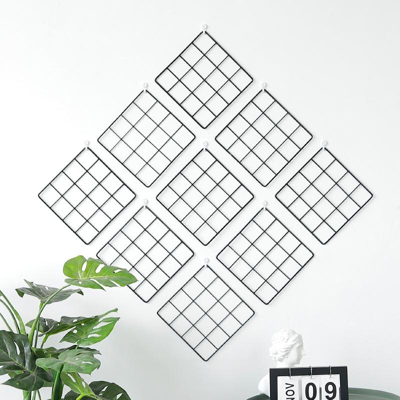 Qianyun 20*20 Nordic Art Photo Displaying Frame Modern Home Wall Decoration Iron Grid Party Metal Shelf Mesh Postcards DIY Racks